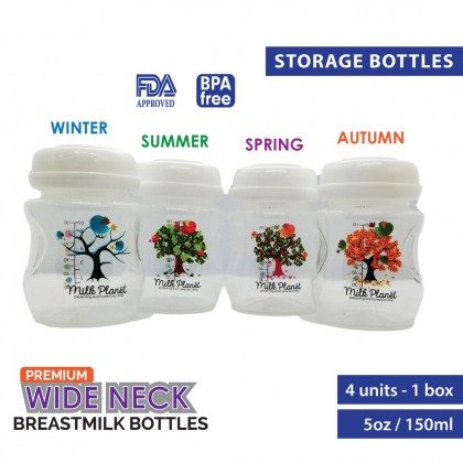 Milk Planet Premium Wide-neck Breastmilk Storage Bottles [4 Count]